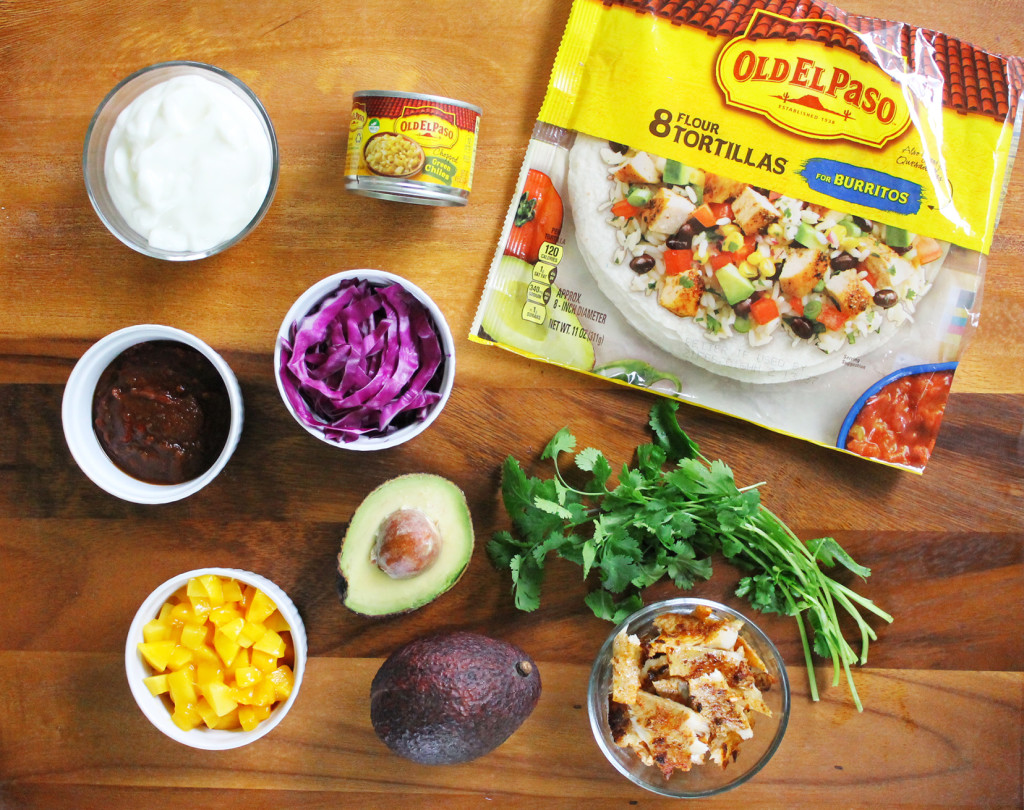 ingredients for chipotle lime fish tacos with avocado and mango