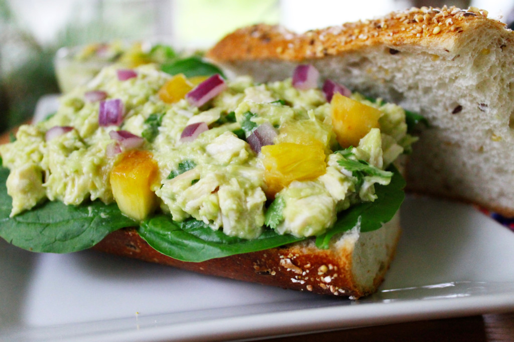 avocado and pineapple chicken salad sandwich