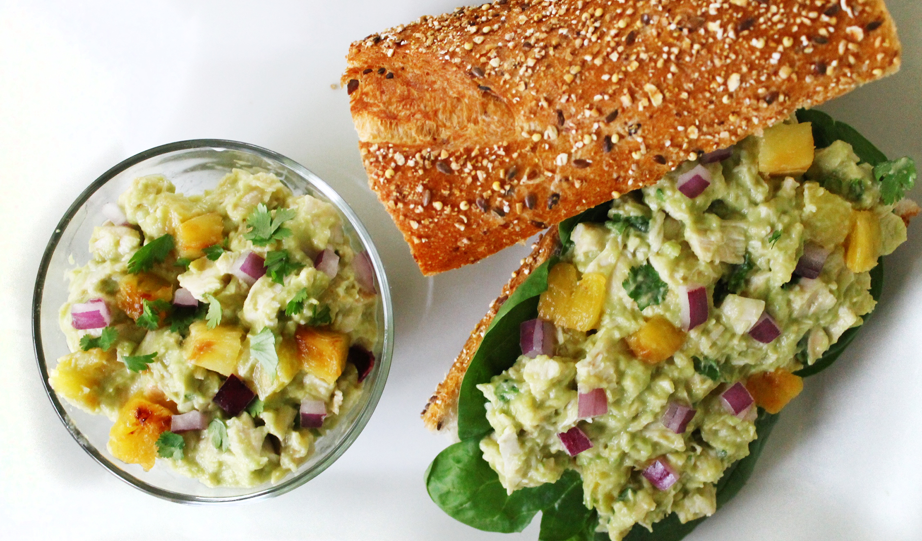 Skinny Avocado and Pineapple Chicken Salad Sandwich