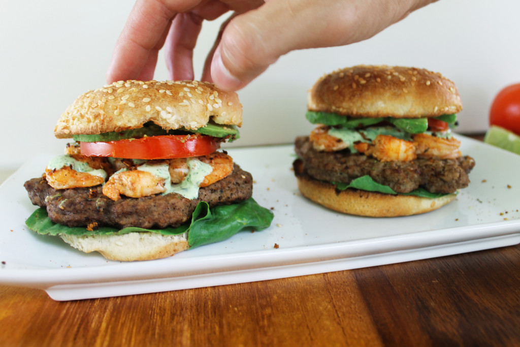 Surf & Turf Chipotle Burgers With Cilantro Lime Sauce