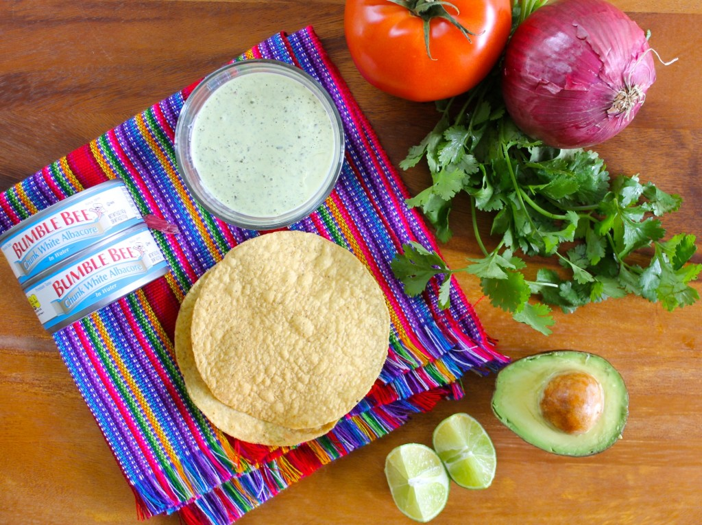 ingredients for tuna tostadas with cilantro crema