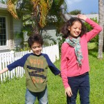 kids having fun in back yard