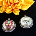 Easy Day of the Dead DIY sugar skull pendants