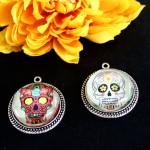 Easy Day of the Dead DIY sugar skull pendants