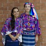 Wearing traditional, hand woven Mayan garments at the Museo Ixchel del Traje Indígena.