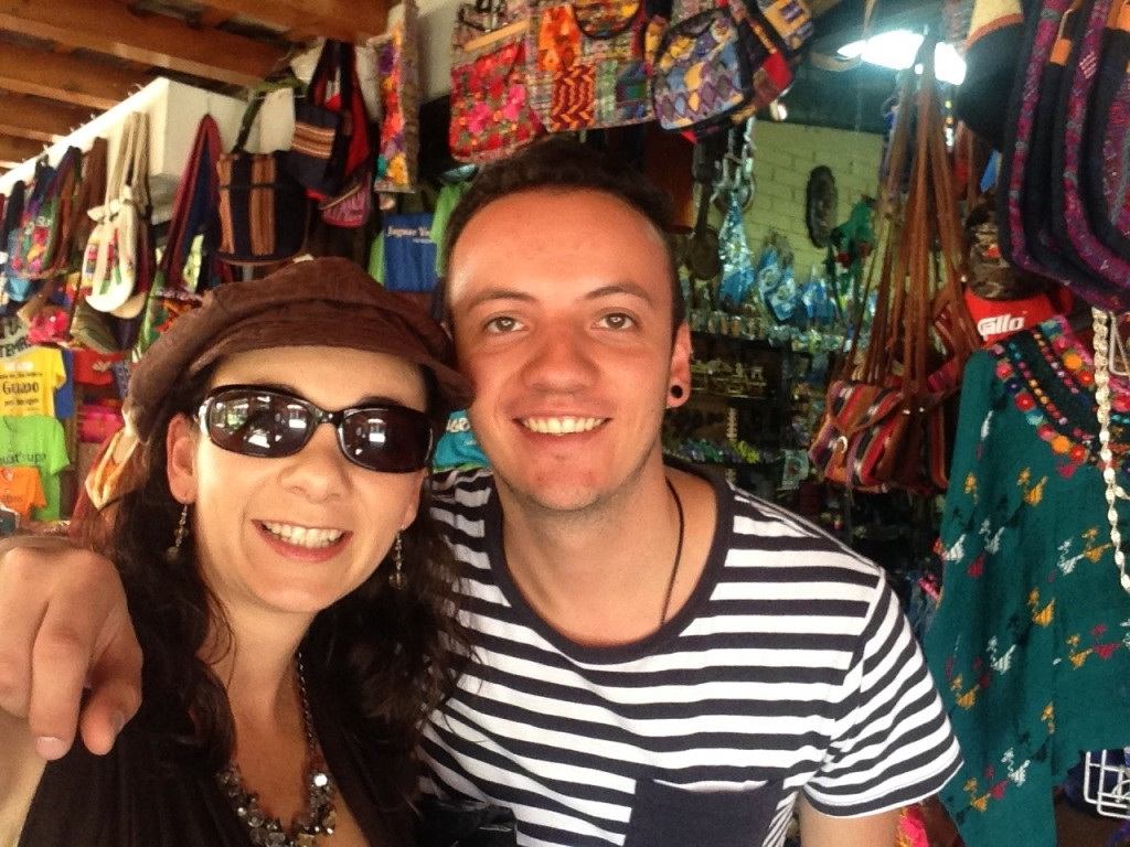 Getting to know the awesome guy my baby brother has become as he helped me shop for traditional güipiles at the Mercado de Artesanías in Guatemala City.