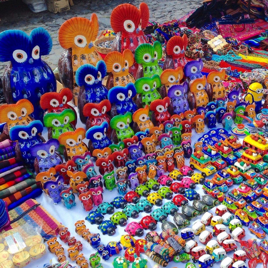 Hand made crafts at the market in Antigua Guatemala.