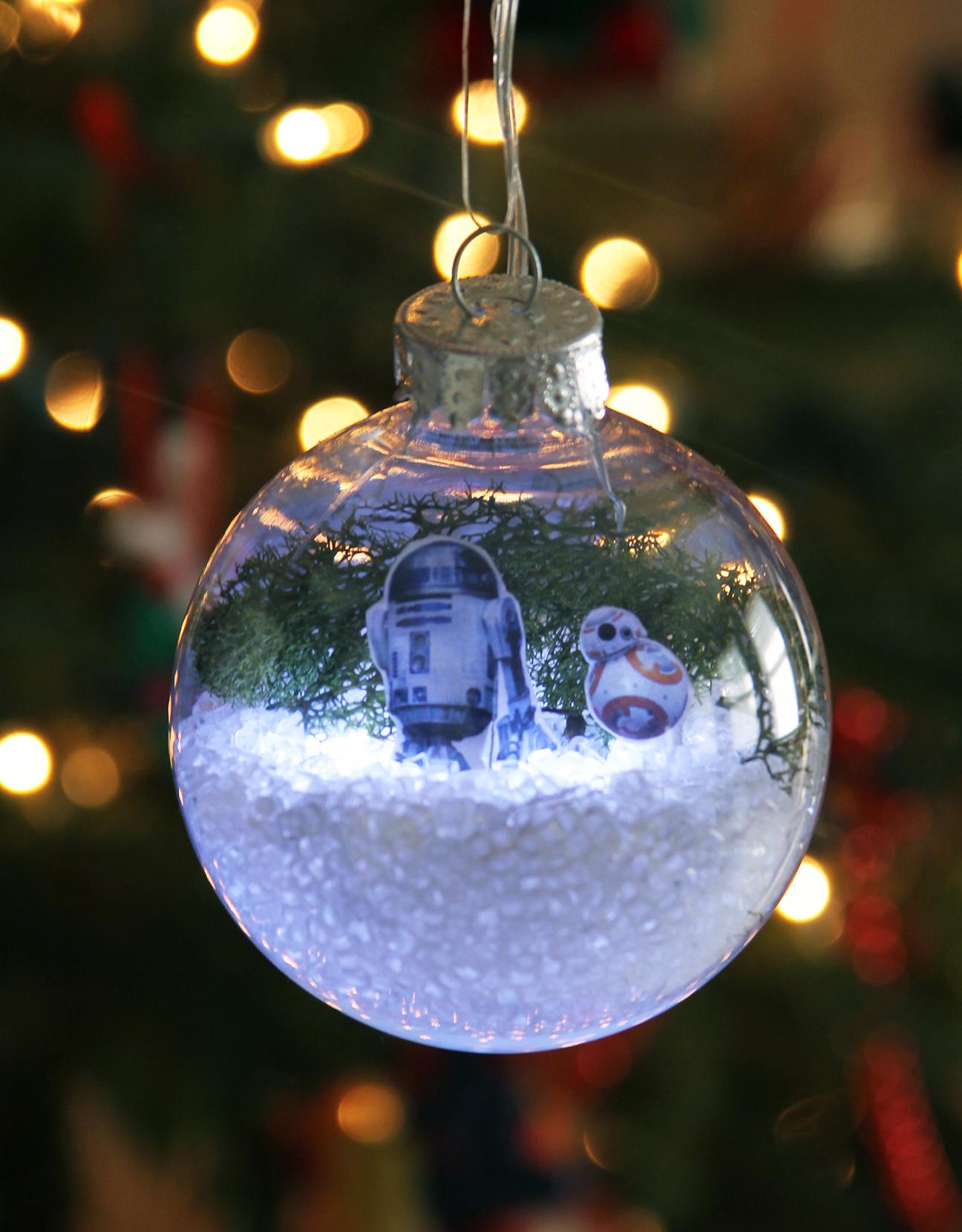 Diy star wars glowing snow globe holiday ornament