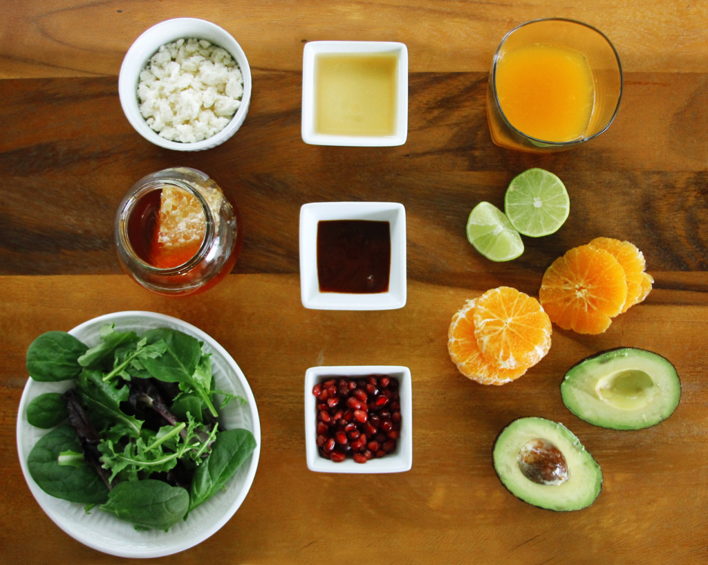 Avocado Tangerine salad with spicy vinaigrette ingredients