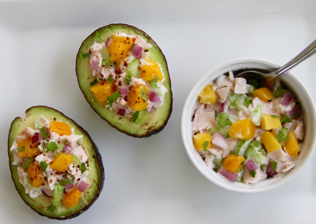 turkey and mango salad filled avocados