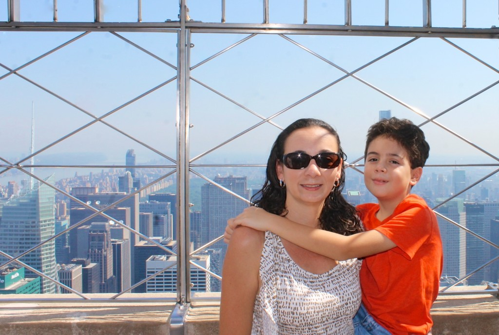 Mother and boy at the top of the Empire State building