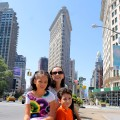 family in front of Flatiron building