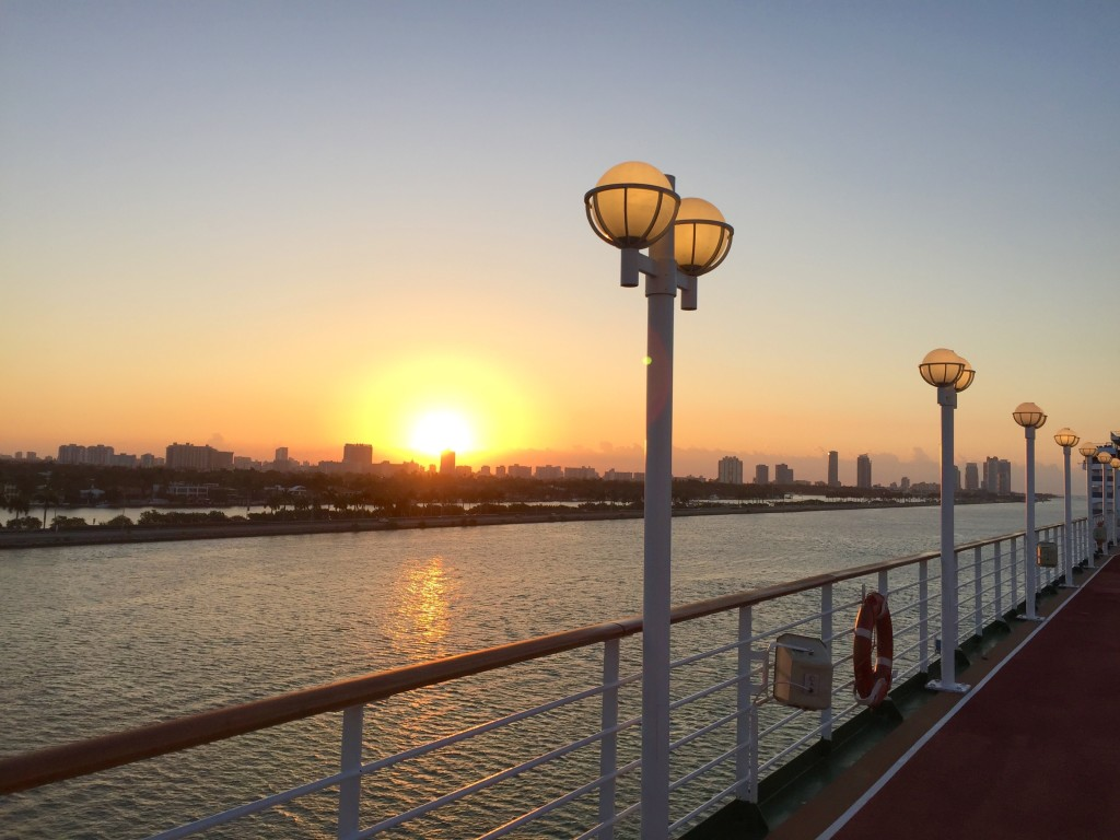 sunrise over the Miami skyline from the Adonia.