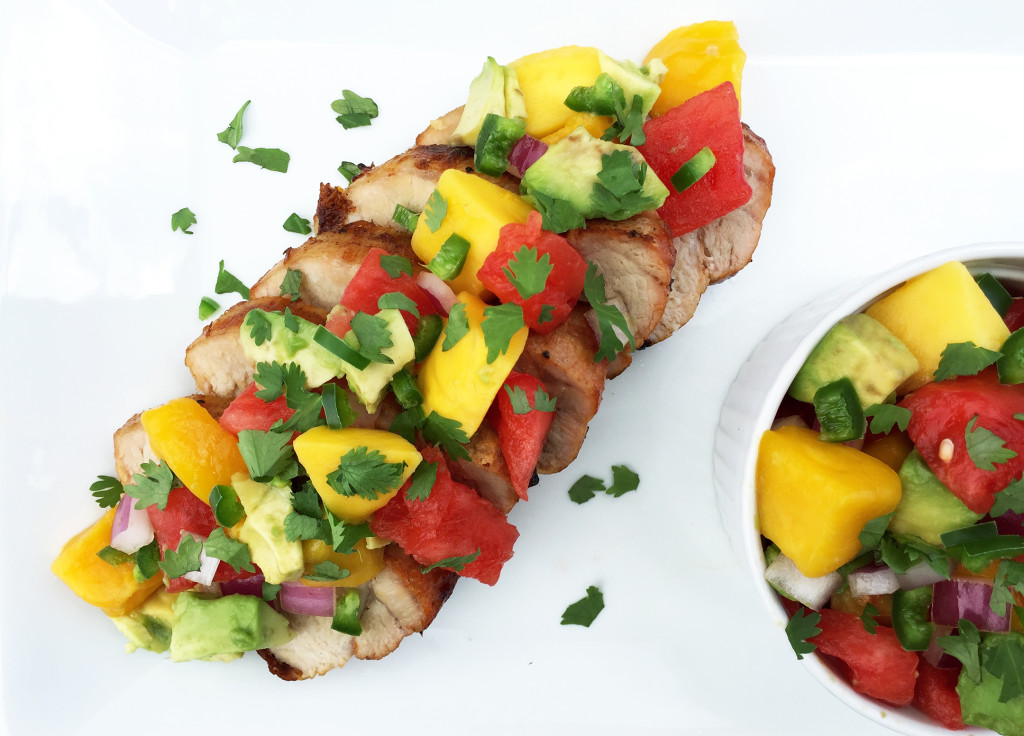 Grilled pork loin with watermelon, avocado and mango salsa