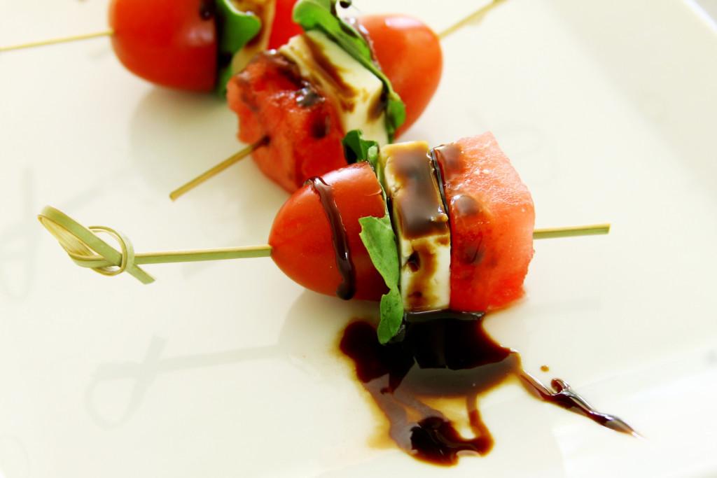 Tomato, watermelon and feta skewers