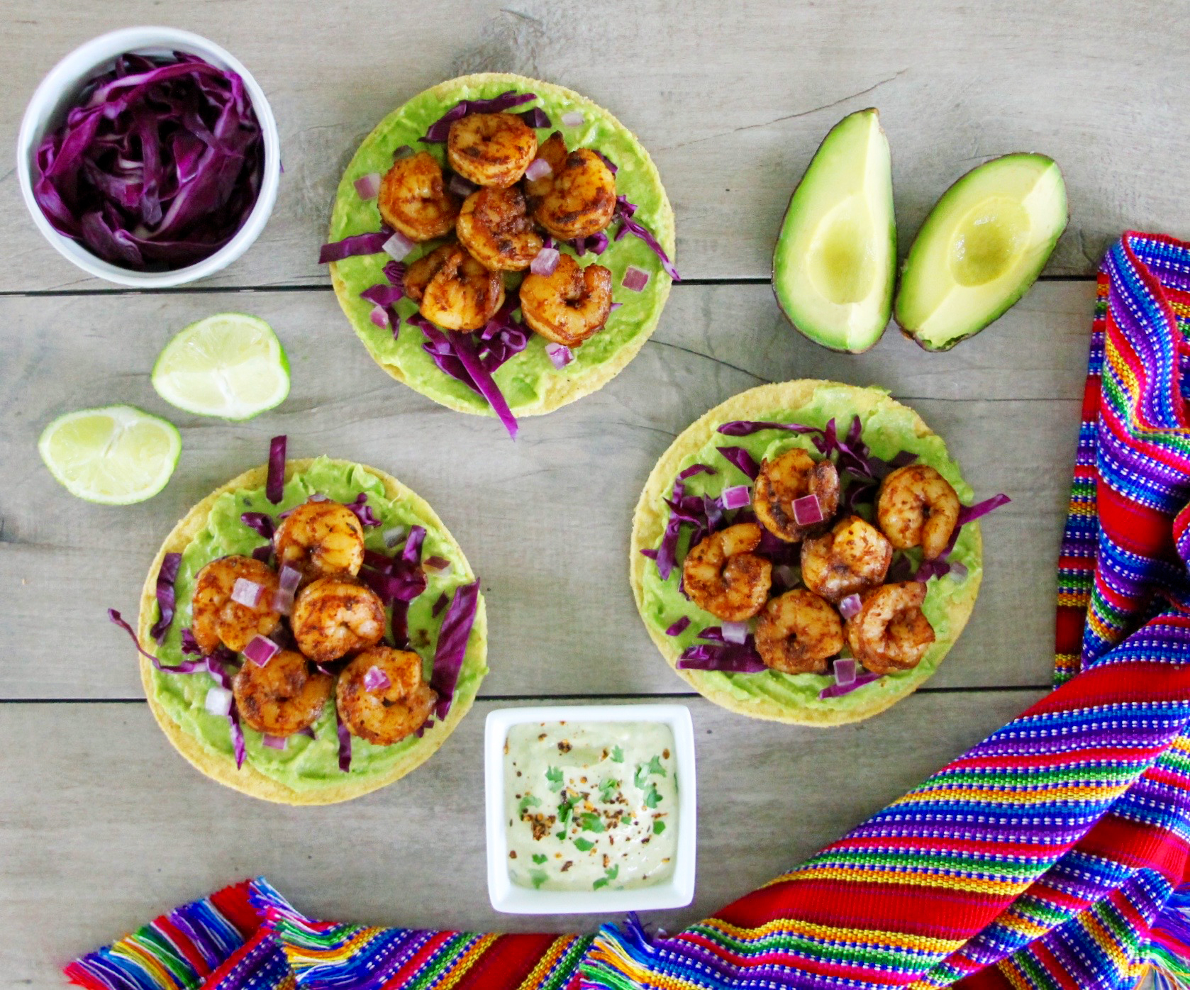 Avocado And Chipotle Shrimp Tostadas With Spicy Cilantro Lime Crema