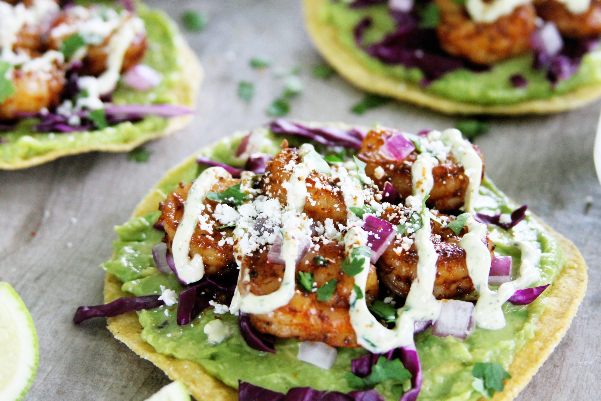 These spicy avocado and chipotle shrimp tostadas with cilantro crema ...