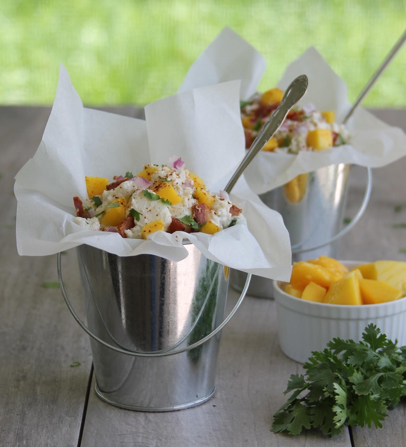 bacon and mango light potato salad