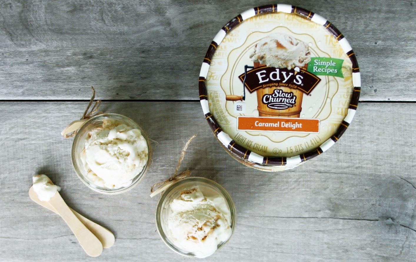 Edy's ice cream served in mason jars