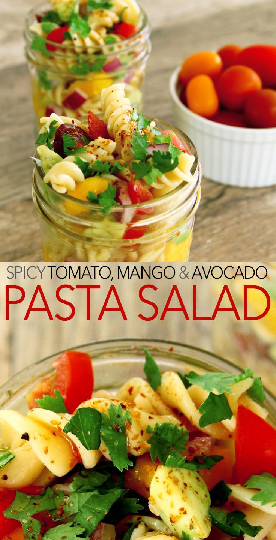 Easy and healthy tomato, mango and avocado pasta salad recipe