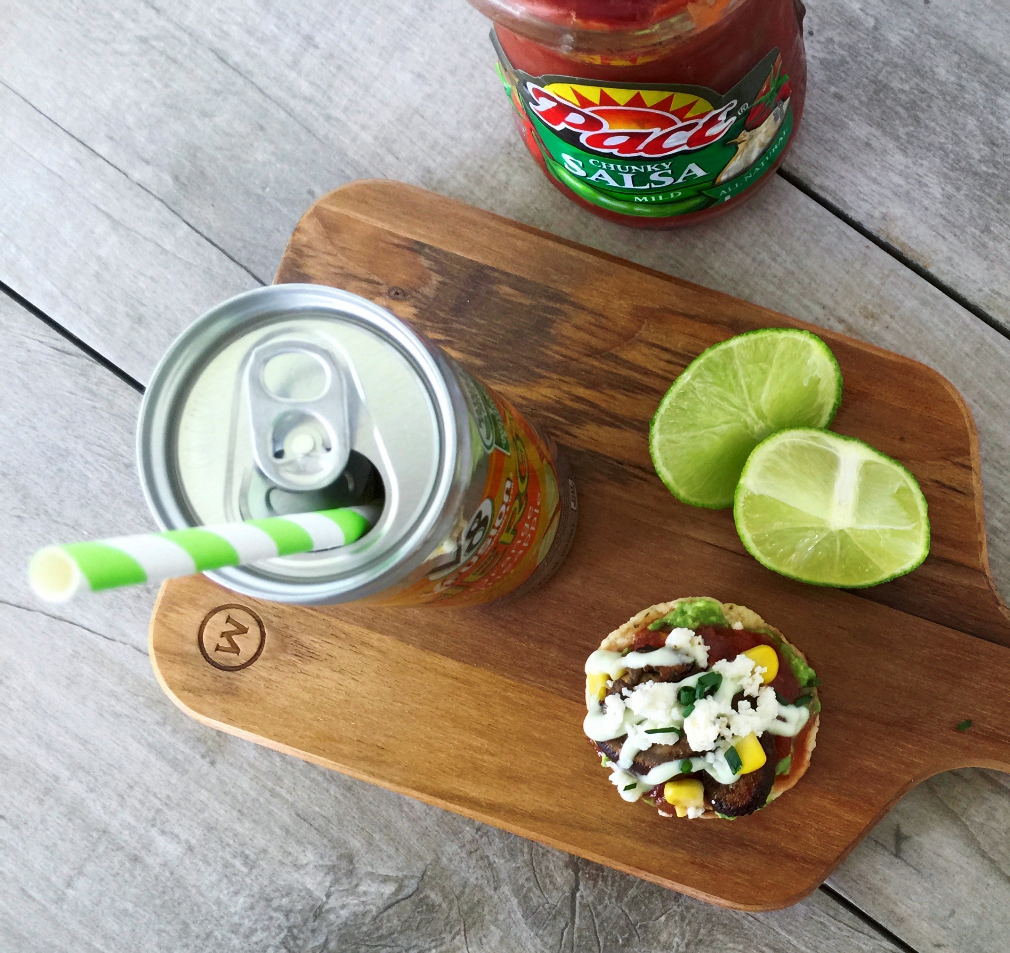 mini tostadas appetizers and V8+Energy drink