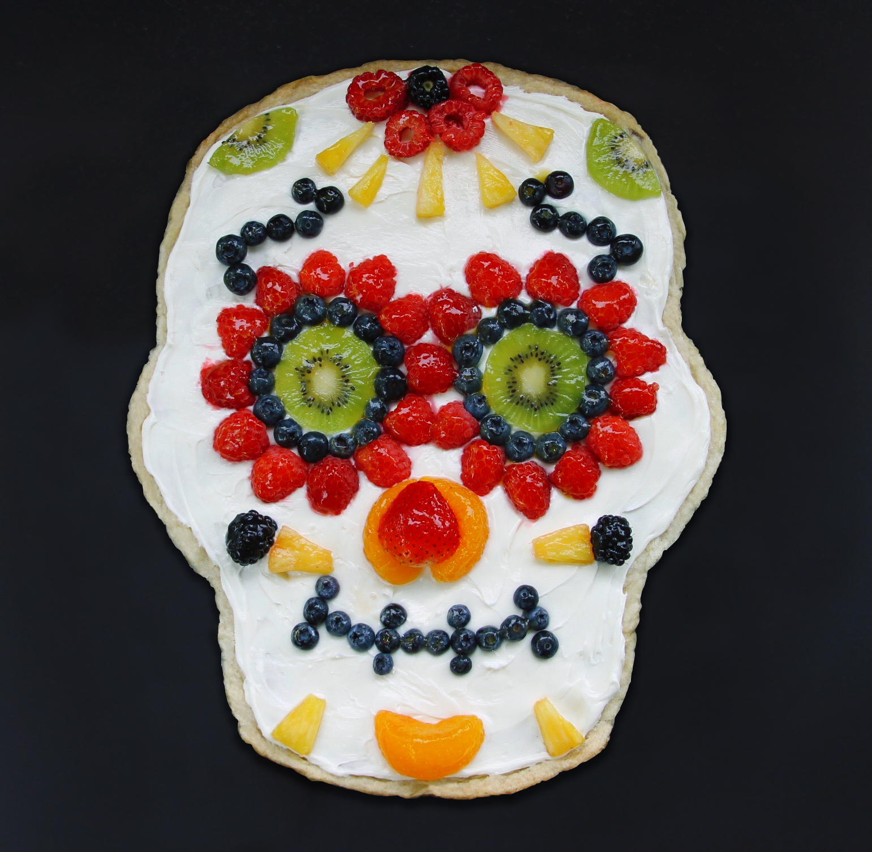 sugar skull made of fruit
