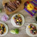 carne asada tacos with mango chimichurri