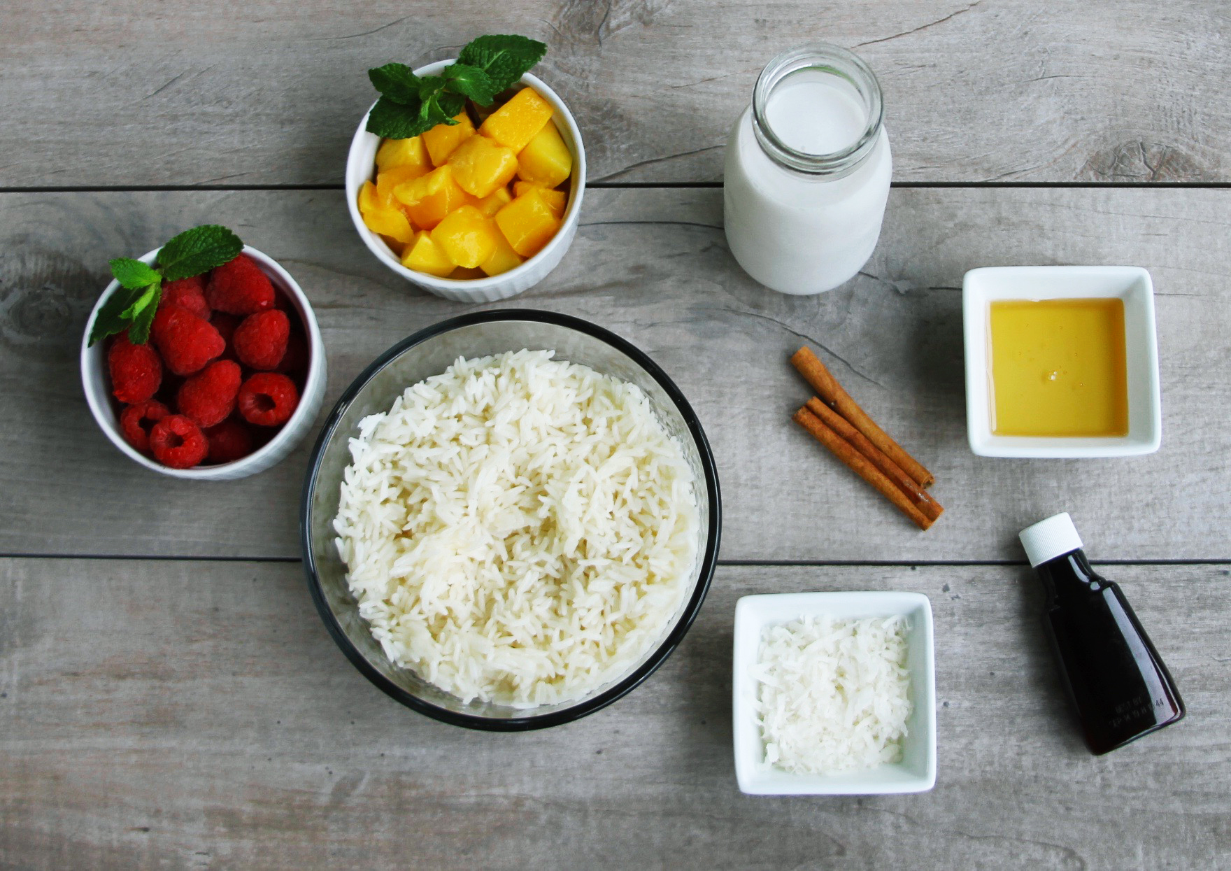 coconut and mango arroz con leche ingredients