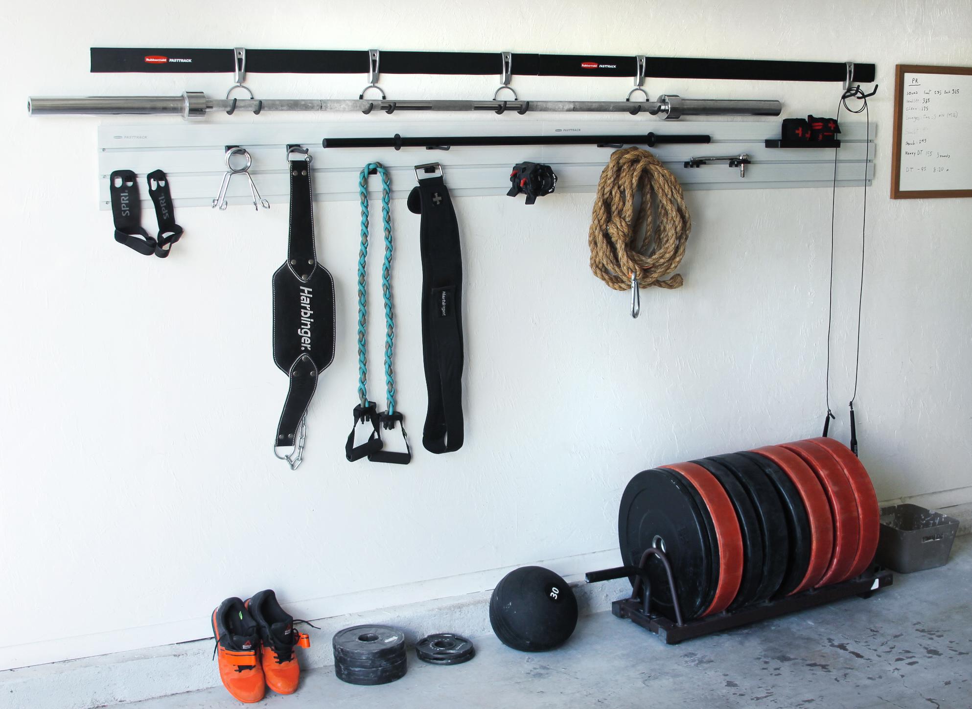 garage gym with the Rubbermaid® FastTrack® Garage Organization System