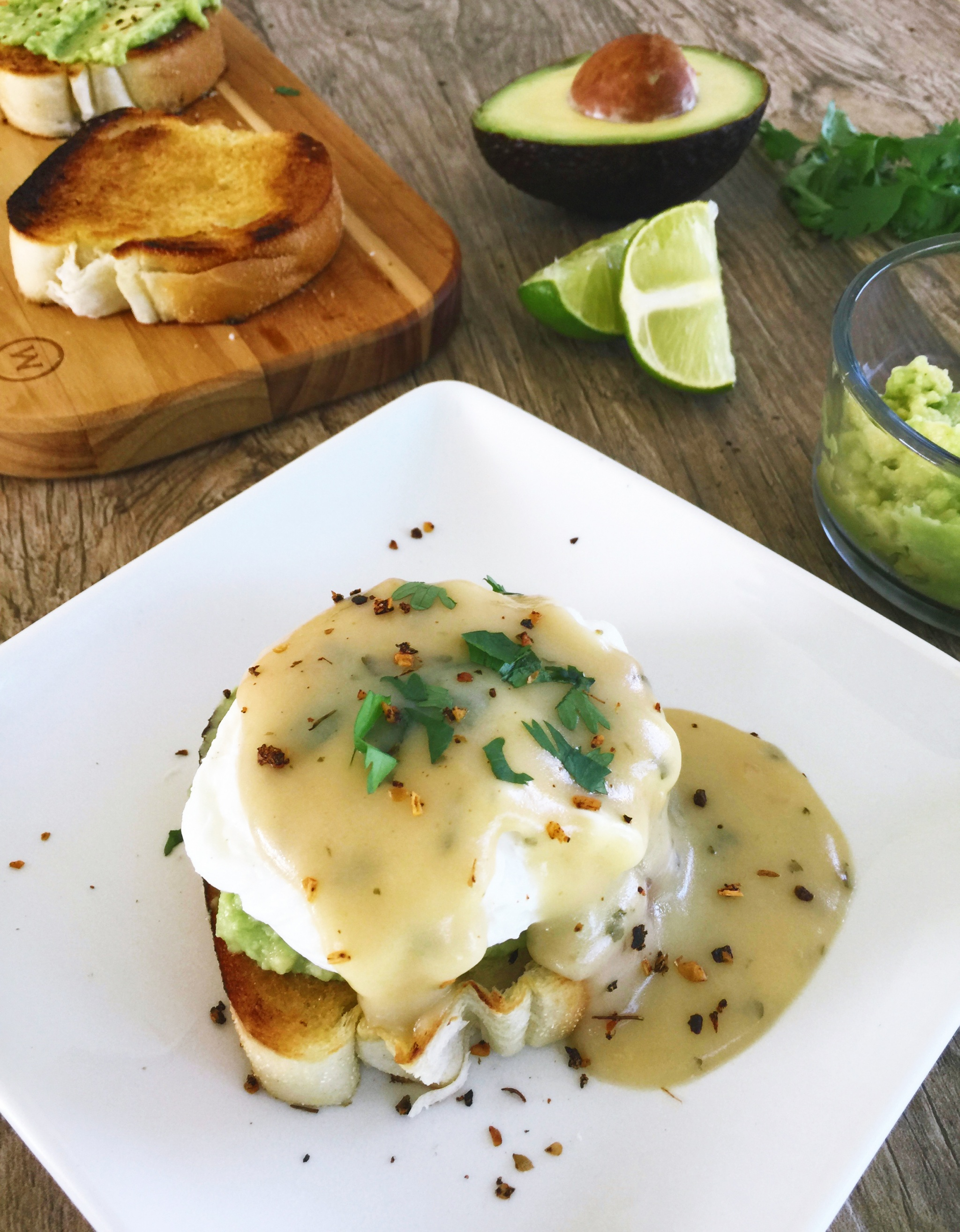 Avocado Toast Eggs Benedict With Cilantro Hollandaise Sauce