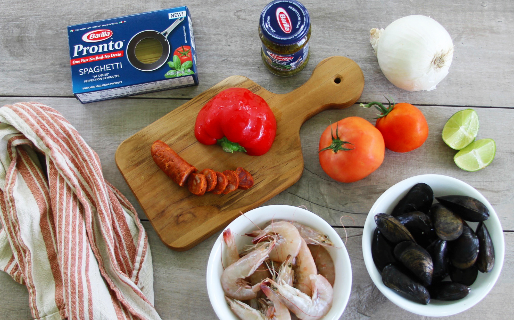 Ingredients for One-pan Spanish chorizo and seafood fideua recipe