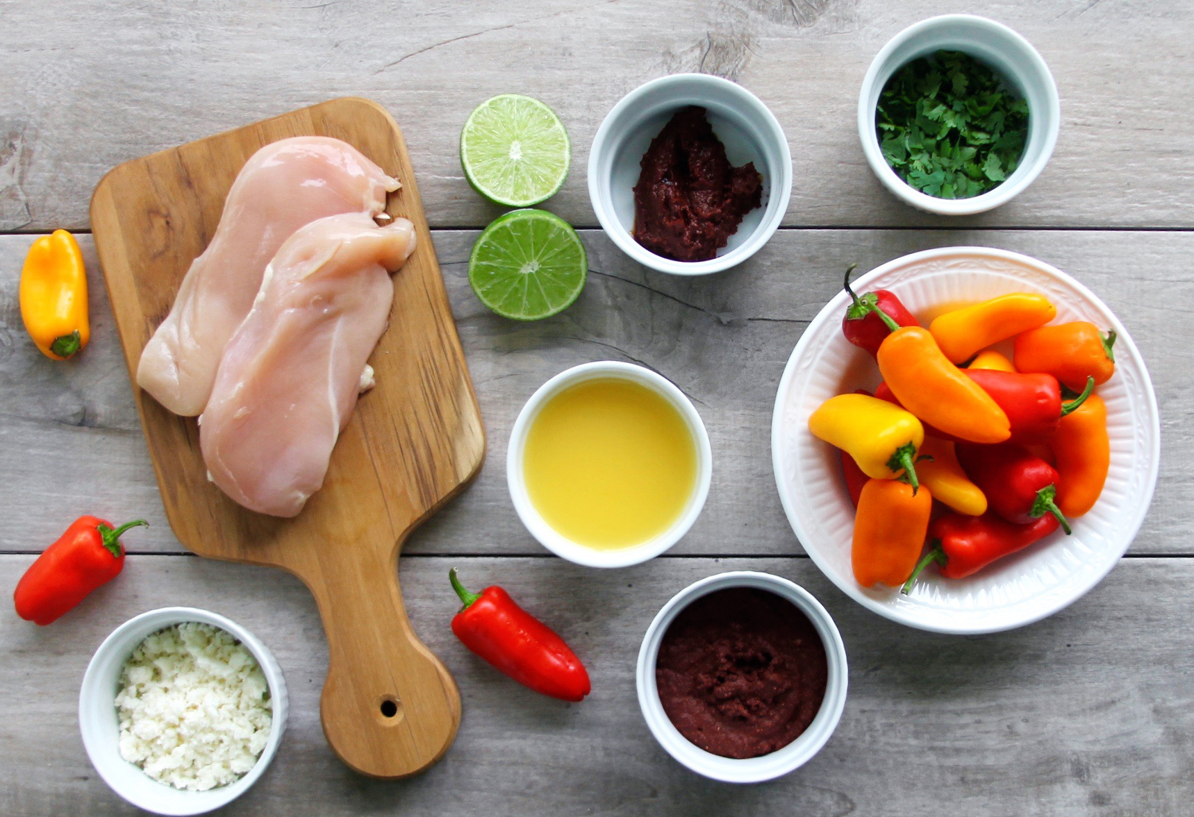 ingredients for spicy pibil chicken stuffed peppers