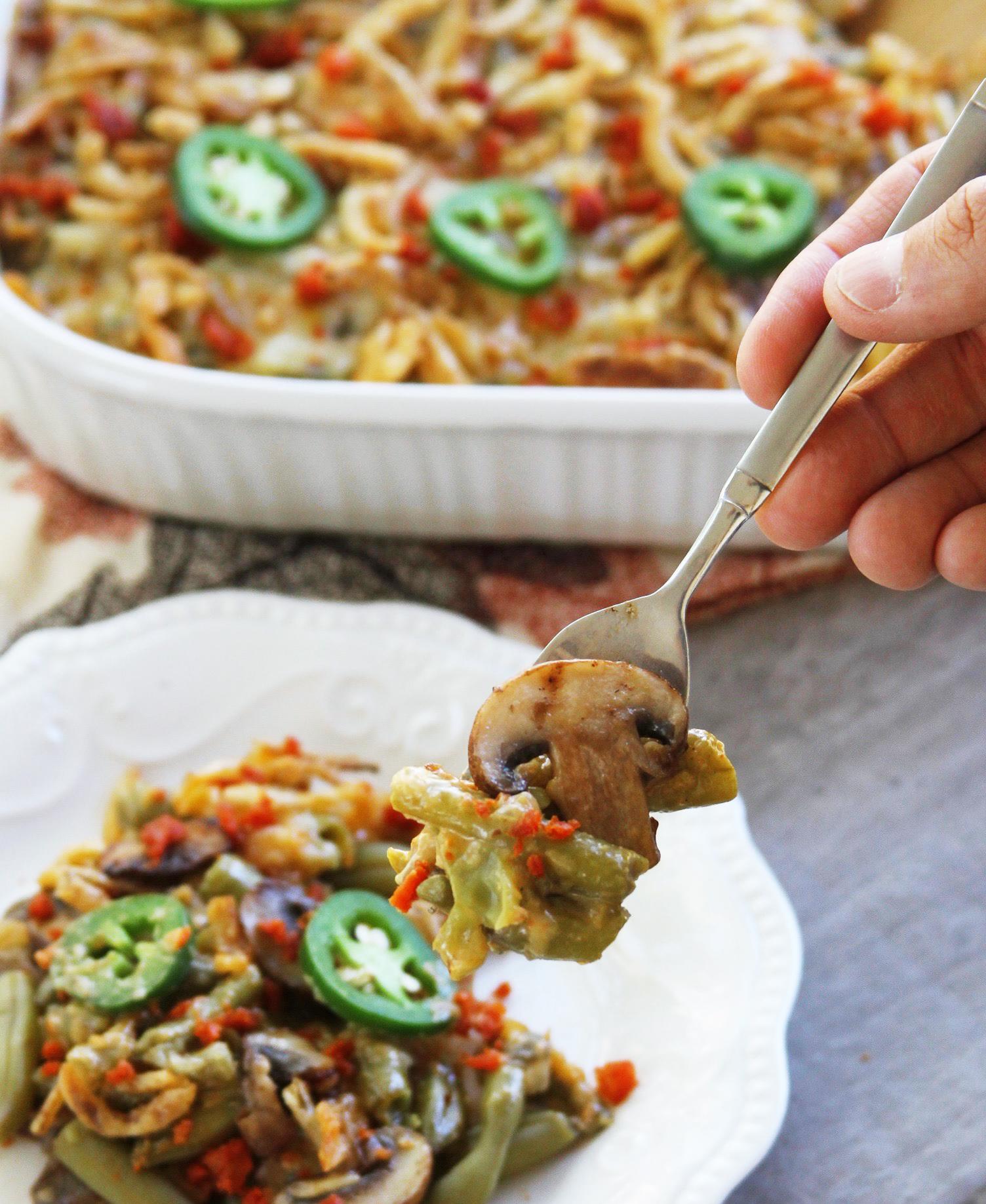 Spicy cheesy chorizo green bean