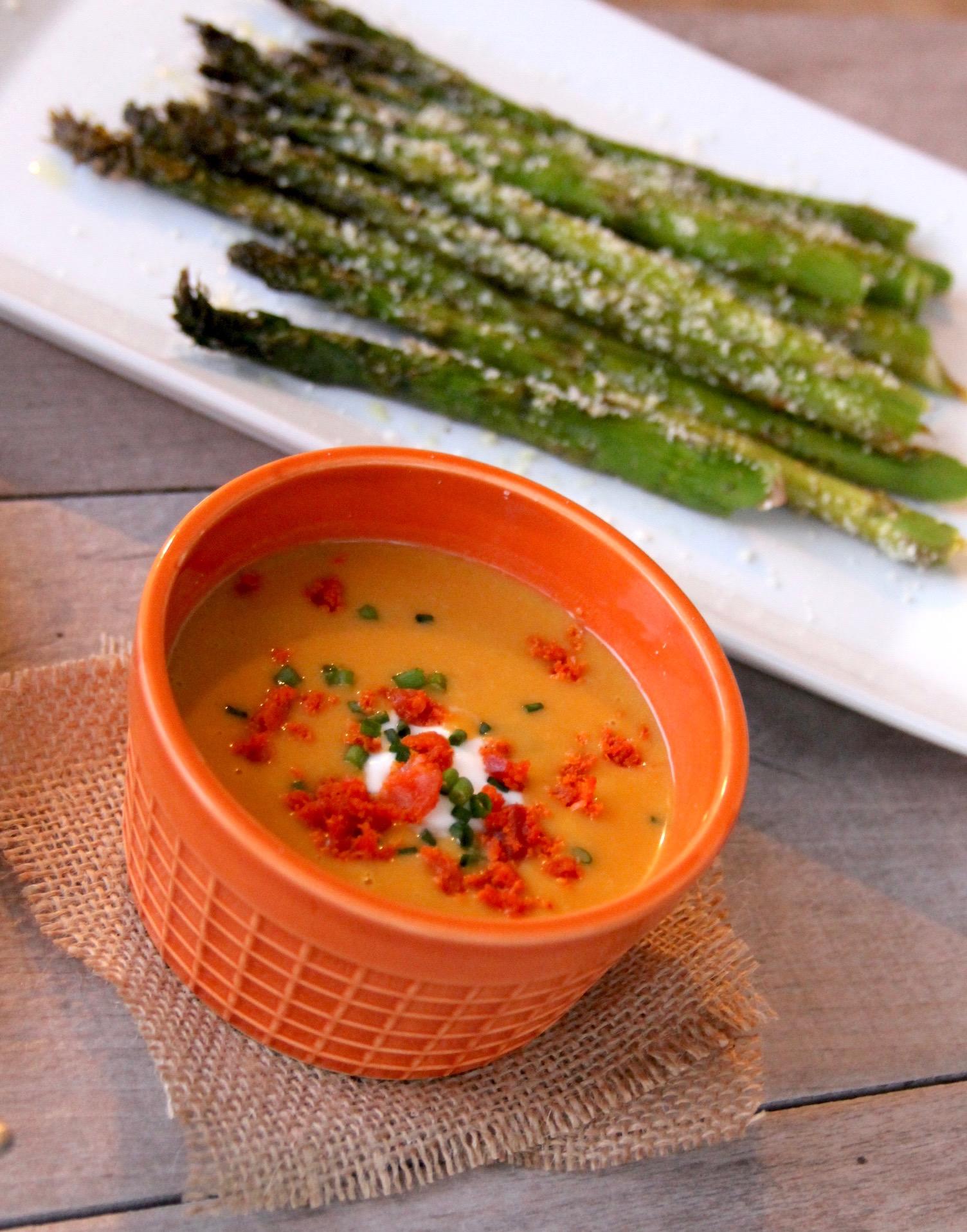 Sweet potato and chipotle soup with chorizo