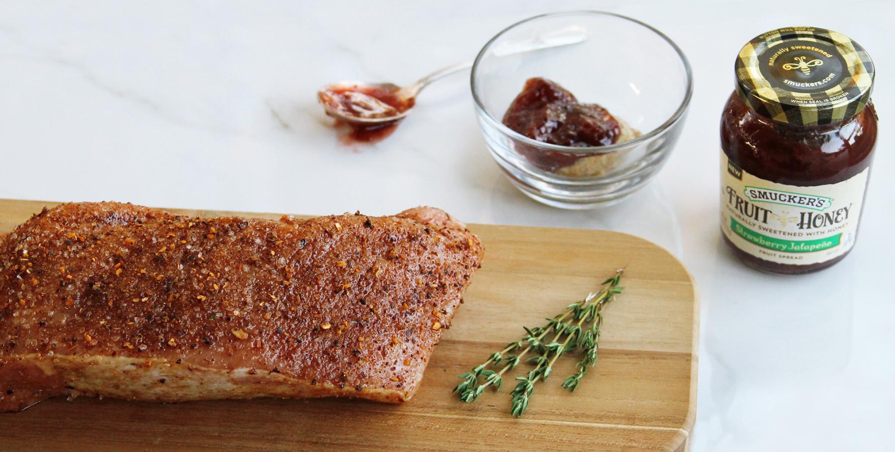 Strawberry jalapeno glazed pork tenderloin