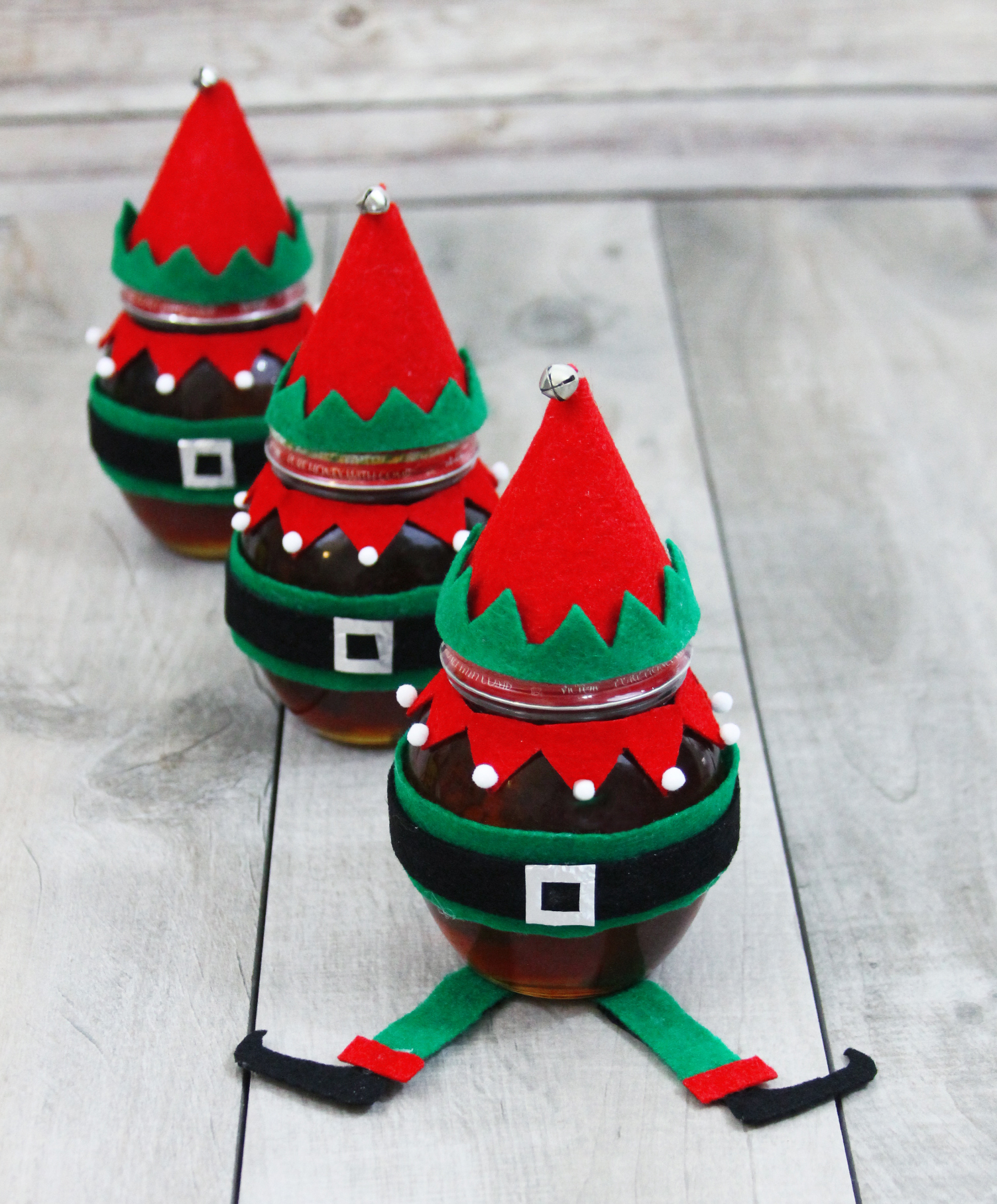 Don Victor Honey elf decorated jars for holiday gift