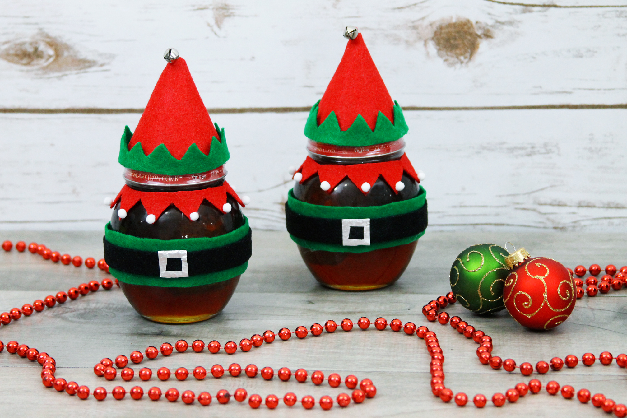 Don Victor Honey elf decorated jars for holiday present