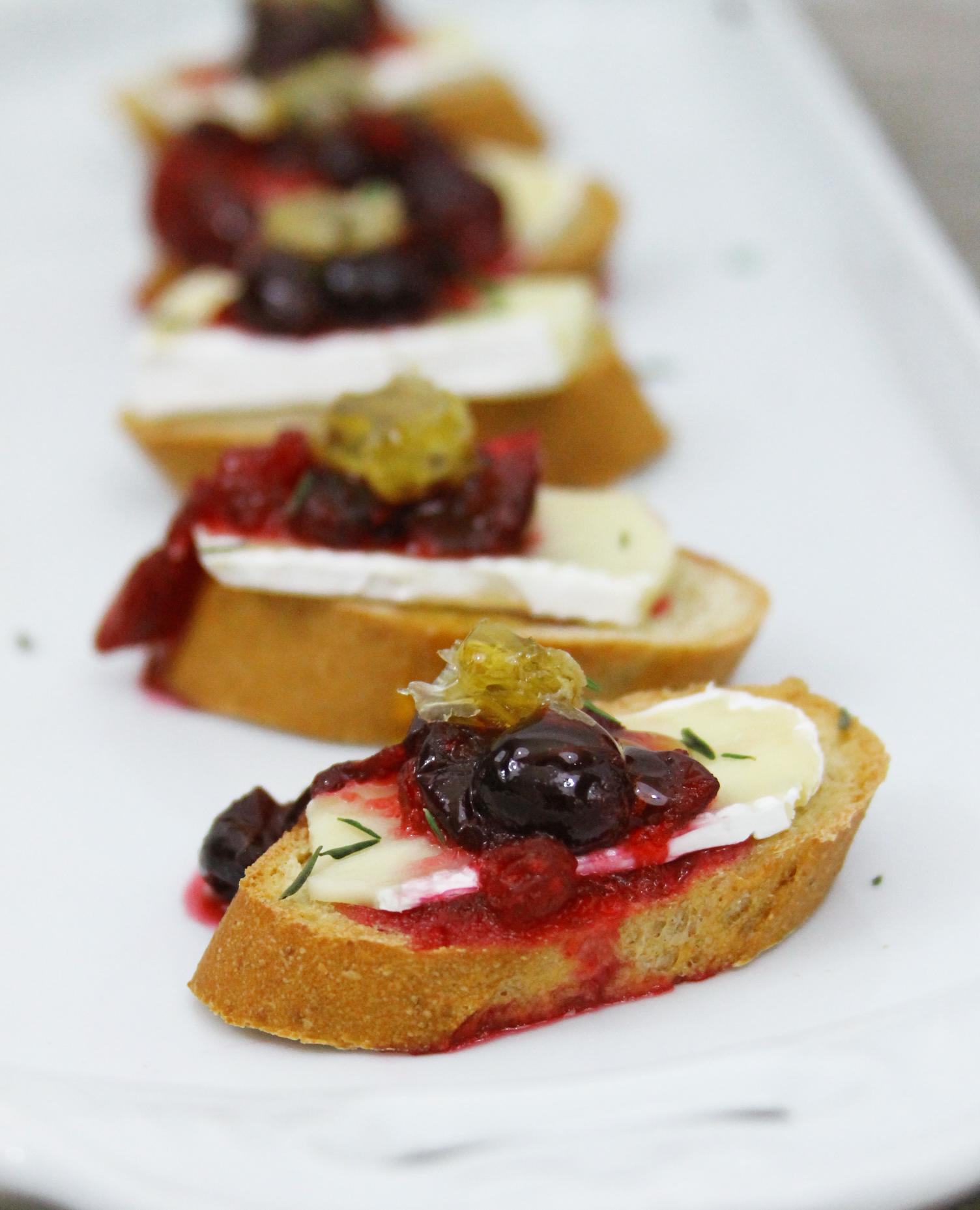 brie cranberry and honey crostini