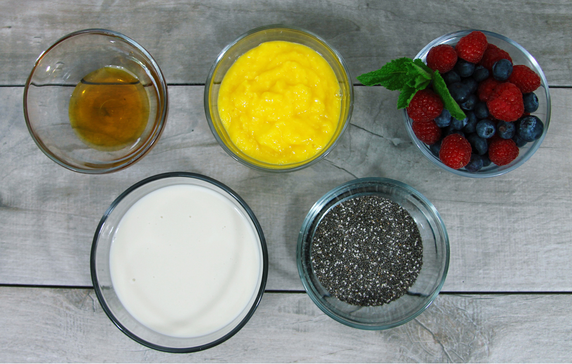 ingredients for mango chia pudding
