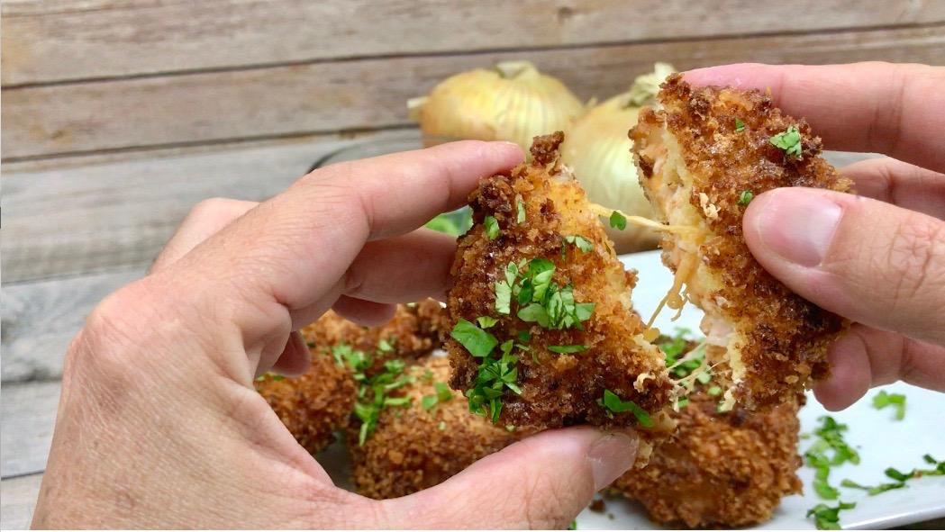 Jalapeno popper stuffed onion rings