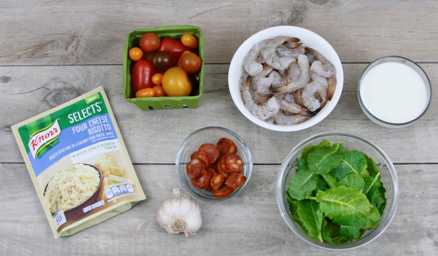 Garlic shrimp and chorizo risotto ingredients