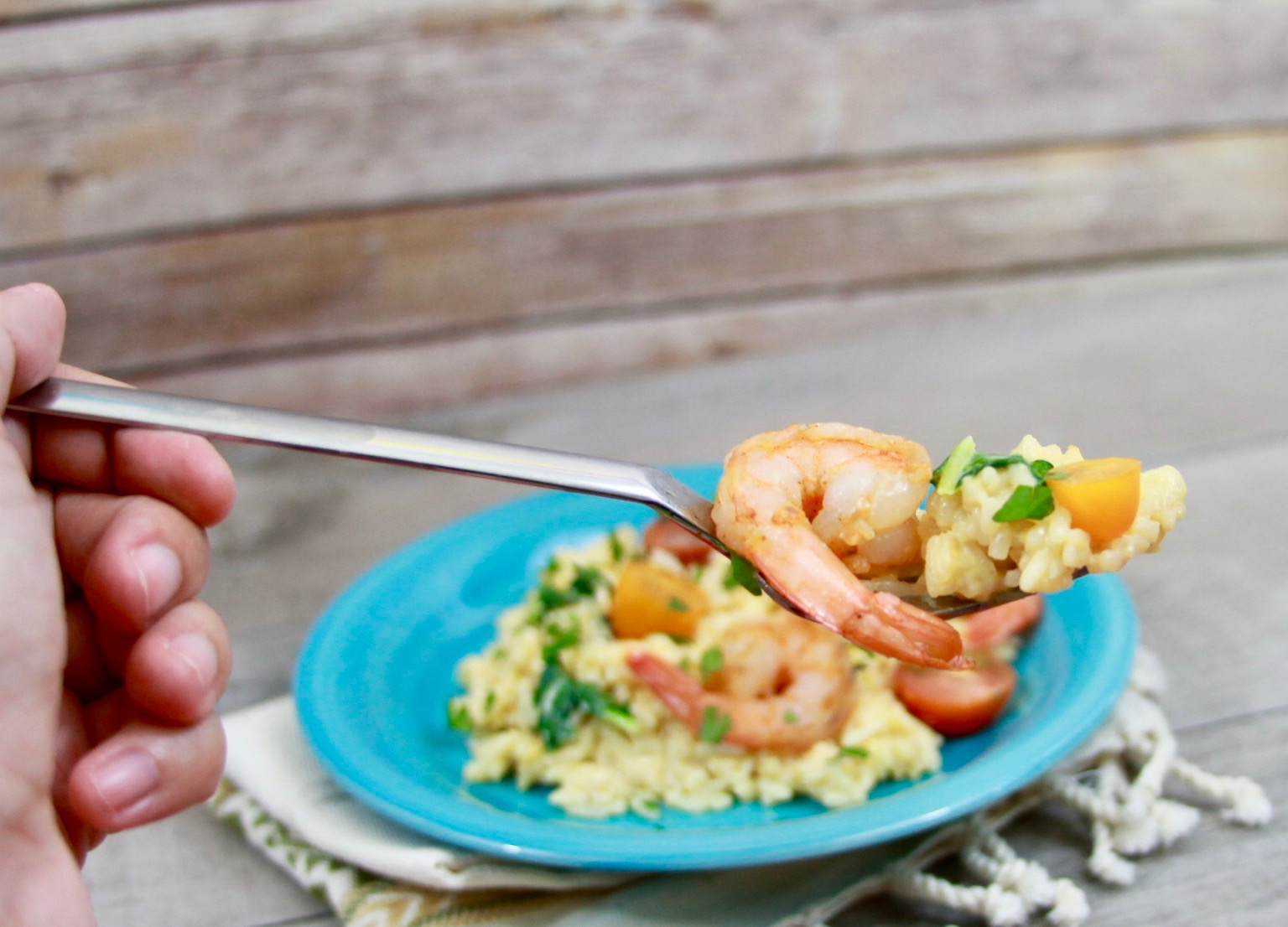 Garlic shrimp and chorizo risotto