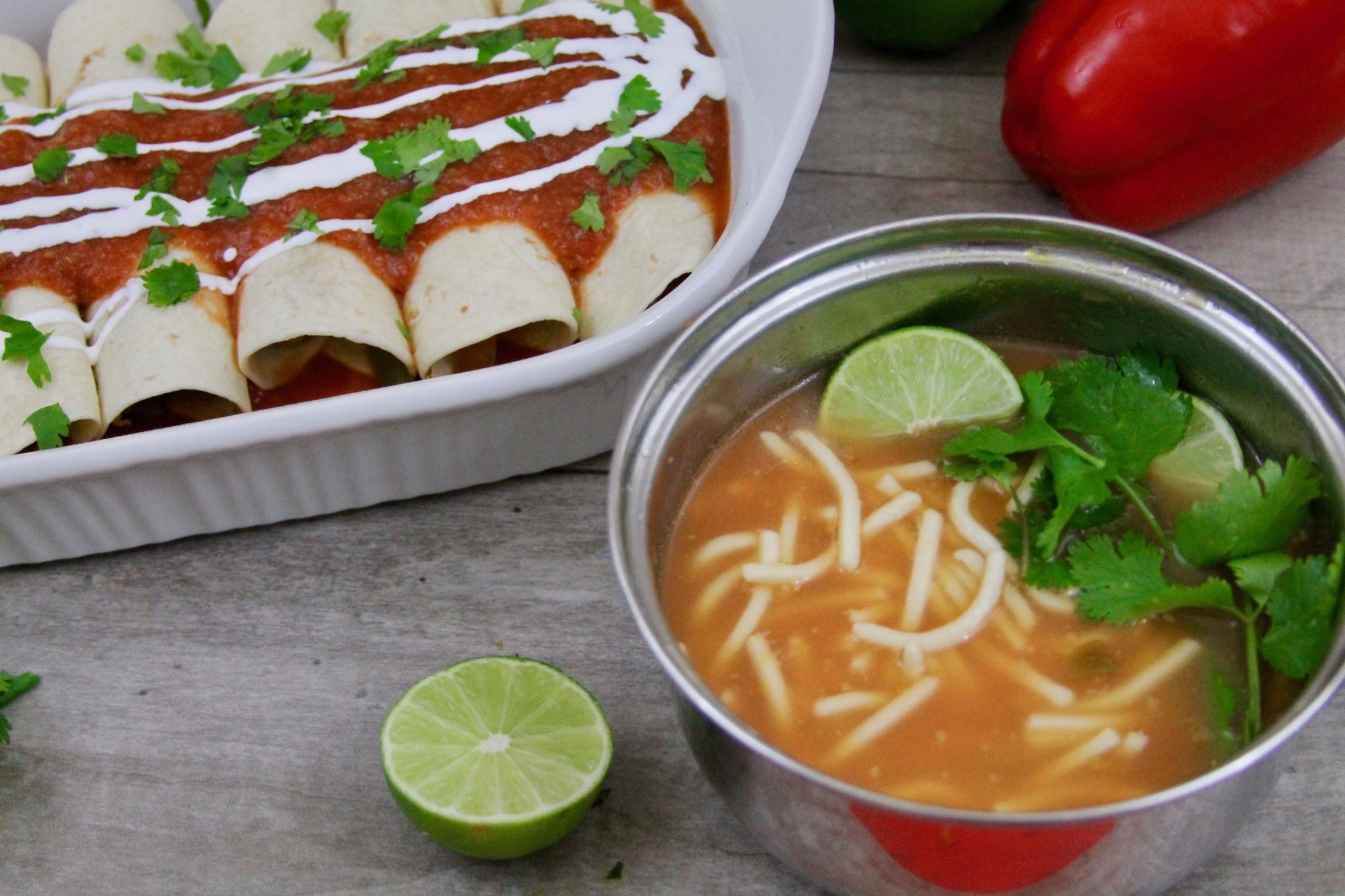 easy chicken enchiladas and Mexican noodle soup